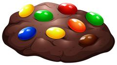 Chocolate chip cookie with candy - stock illustration