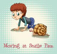 Moving at snails pace - stock illustration