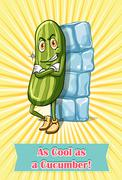 As cool as a cucumber Stock Illustration