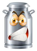 Angry face on milk tank Stock Illustration