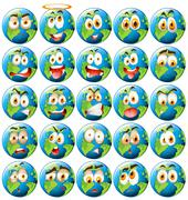 Earth with facial expression - stock illustration