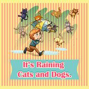 Raining cats and dogs - stock illustration