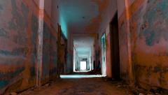HD linear tracking inside a scary abandoned coridor with vertigo morphing effect Stock Footage
