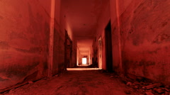 HD gateway to hell inside a scary abandoned coridor of an evacuated building Stock Footage