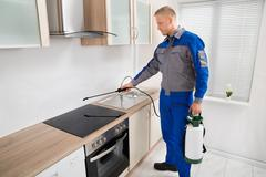 Stock Photo of Young Male Pest Control Worker Spraying Pesticide On Induction Hob In Kitchen