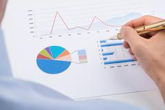 Close-up Of Businessperson With Pen Analyzing Statistic Chart On Paper Stock Photos