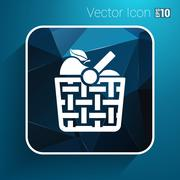 Basket icon with shadow and other picnic icons - stock illustration
