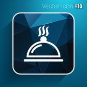 Food platter serving sign icon logo food tableware - stock illustration