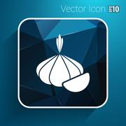 Garlic agriculture food healthy icon isolated line logo - stock illustration
