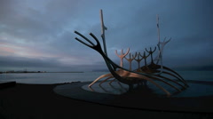 The Sun Voyager in Reykjavik, Iceland Stock Footage