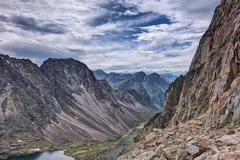 The path along the high cliffs in the mountains of Eastern Siberia Stock Photos