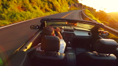 Driving Convertible Country Road Stock Footage