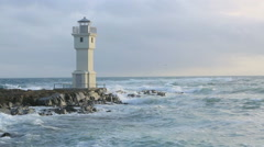 Lighthouse at the port of Akranes, Iceland Stock Footage