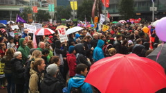 Thousands march against TPP trade agreement in Auckland New  Zealand Stock Footage
