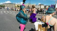 Ocean women at Gay pride parade in Stockholm Stock Footage