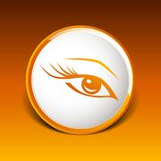 vector blue eye with long lashes  woman makeup beauty symbol - stock illustration