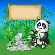 Stock Illustration of Panda sitting in bamboo branches and holding