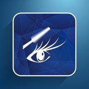 Woman eye beautiful makeup long eyelashes. Mascara Brush - stock illustration