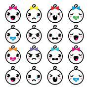 Kawaii baby boy and girl cute faces icons set - stock illustration