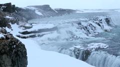 Waterfall Gullfoss in winter Stock Footage