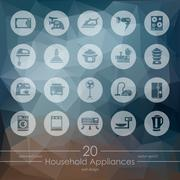 Set of household appliances icons - stock illustration