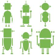 Plain Vintage retro robots 2 icons set in green  set of 6  ( set A) - stock illustration