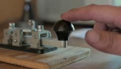 Morse Code Transmitter, World War 2 looking, backlit Stock Footage