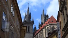 Church of Our Lady before Tyn from the Old Town street. Prague Stock Footage