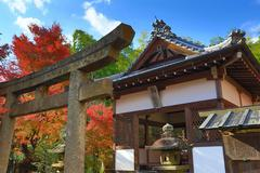 fall season of Jojakukoji temple - stock photo