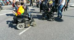 Wheelchair users at Gay pride parade in Stockholm Stock Footage