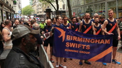 Birmingham Gay Pride - gay running group Stock Footage