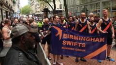 Birmingham Gay Pride - gay running group - stock footage