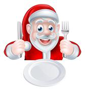 Santa Christmas Dinner - stock illustration