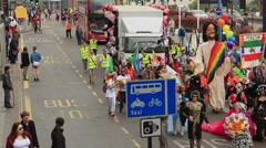 Birmingham Gay Pride - wider view of the parade - stock footage