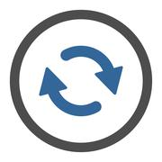 Refresh flat cobalt and gray colors rounded vector icon - stock illustration
