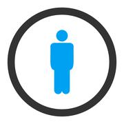 Man flat blue and gray colors rounded raster icon Stock Illustration