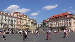 Crowd tourists at the Old Town Square of Prague. Stock Footage