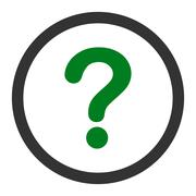 Question flat green and gray colors rounded raster icon - stock illustration