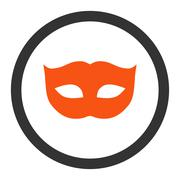 Privacy Mask flat orange and gray colors rounded raster icon - stock illustration