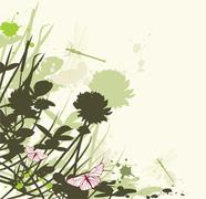 Floral background with clover Stock Illustration