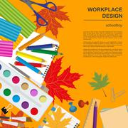 Education graphic template. Schoolboy workplace mock up for creating your own - stock illustration