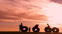 Sunset landscape space  people relaxing  Stock Footage