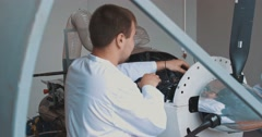 Installation of an avia of the engine on the test bench Stock Footage