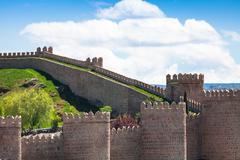 Avila. Detailed view of Avila walls, also known as murallas de avila. Ávila, - stock photo