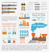 Railway infographic. Set elements for creating your own infographics Stock Illustration
