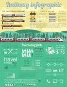 Railway infographic. Set elements for creating your own infographics - stock illustration