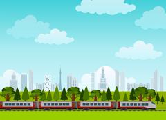 Railroad and train rides. Poster. Flat style - stock illustration