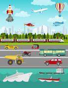 Transport infographics elements. Cars, trucks, public, air, water, railway tr - stock illustration