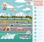 Transport infographics elements. Cars, trucks, public, air, water, railway tr Stock Illustration