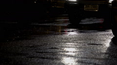 Car Splashing On Rain Flooded Street Stock Footage